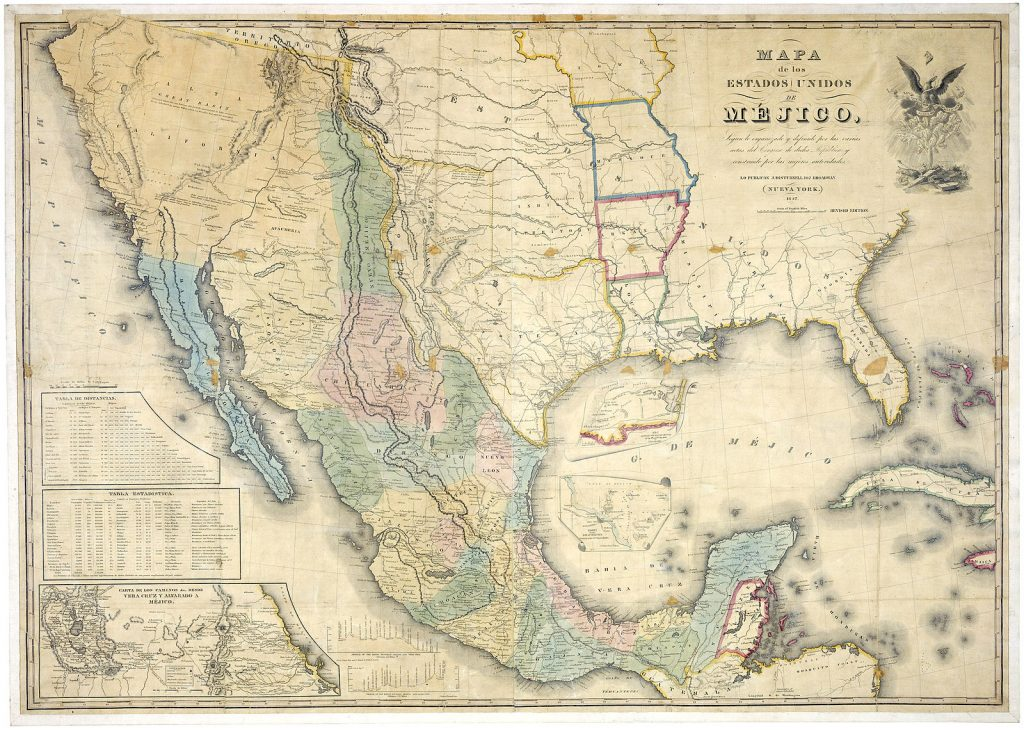 A map of Mexico showing borders before the US/Mexico War.